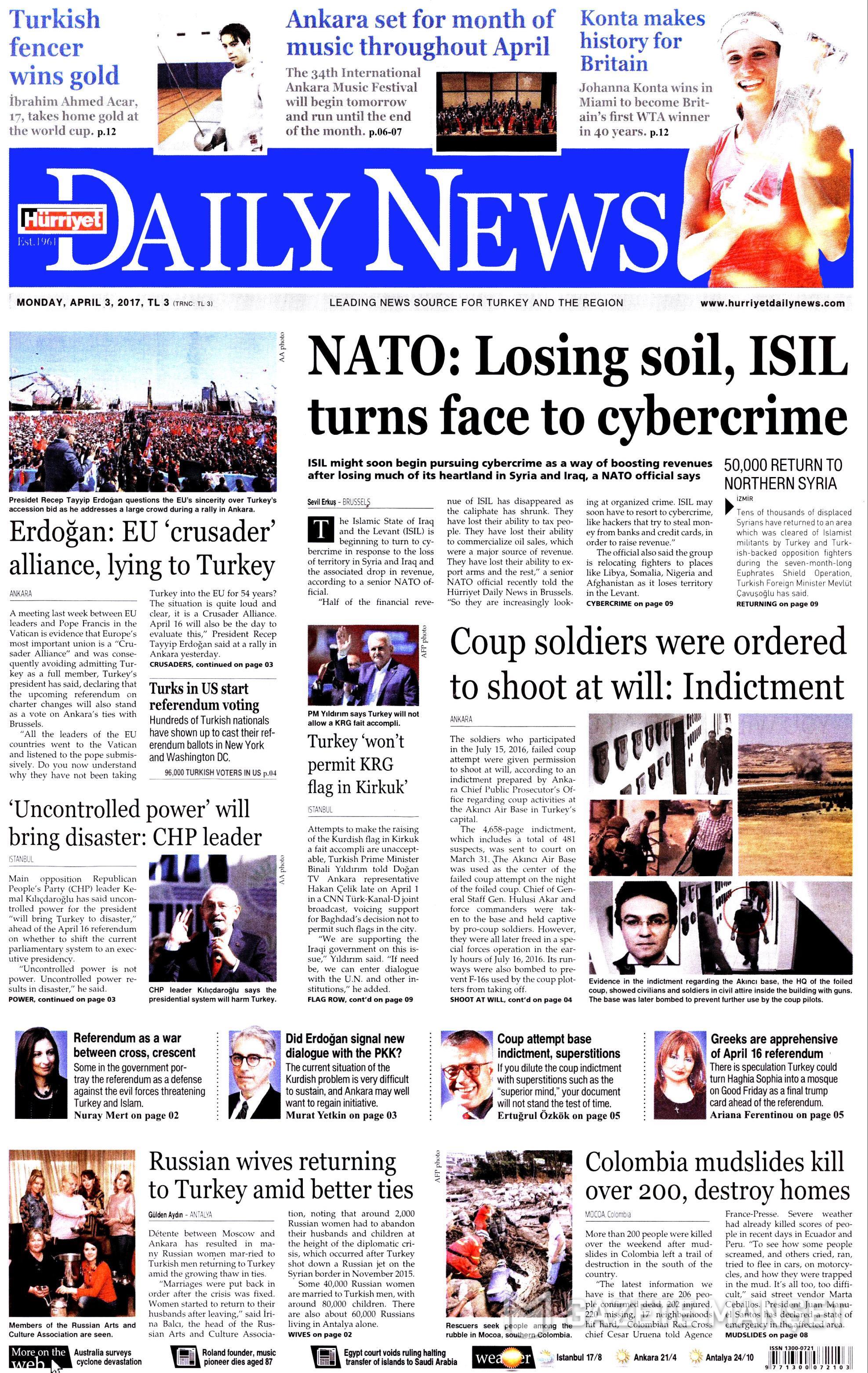 Hurriyet daily news - 07/12/2015 gazete başlıkları - t24